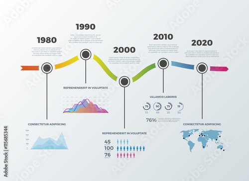 Valokuvatapetti Road timeline infographic for workflow layout banner diagram number options