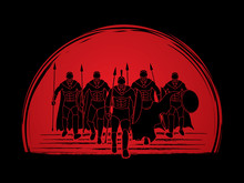Group Of Spartan Warrior Walking With A Spear Designed On Sunset Background Graphic Vector.