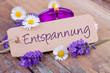 Leinwandbild Motiv Entspannung  -  Deko mit Duftkerze, Lavendel und Gänseblümchen