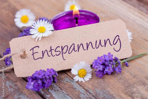 Foto op Canvas Madeliefjes Entspannung - Deko mit Duftkerze, Lavendel und Gänseblümchen