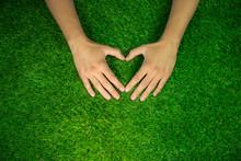 Hands Making Heart Shape On Green Grass Background