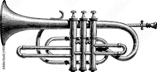 Fotografia Vintage drawing trumpet