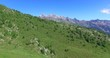 Montagne verdi e pascoli - Sorvolo aereo su vallata alpina