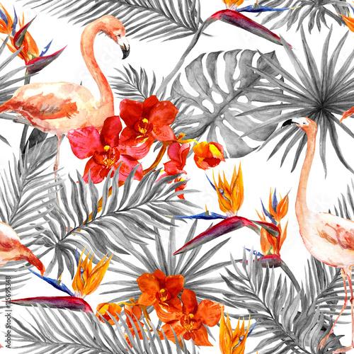 flamingo-liscie-tropikalne-egzotyczne-kwiaty-bezszwowe-czarno-biale-tlo-akwarela