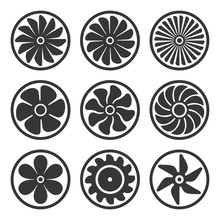 Turbines And Fan Icons Set. Turbojet Engine Power. Vector