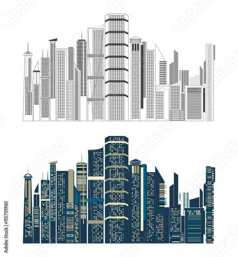 Cityscape Building Line art Vector Illustration design, modern cityscape. vector illustrator Fototapete