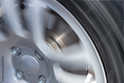 Fotografie, Obraz  car wheel and brake disc closeup