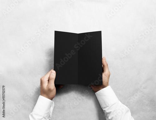 hand opening blank black flyer brochure booklet mockup leaflet