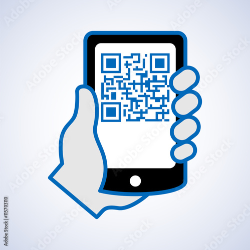 Fotografie, Obraz  QR code scanning with mobile phone