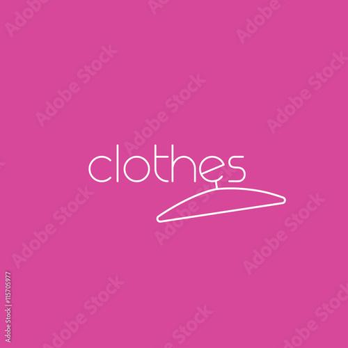 Fashion vector logo template concept with clothes hanger