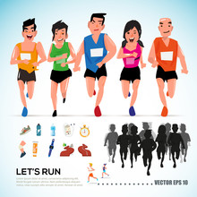 Happy Runner Group With Running Kit Elements And Silhouette. Cha