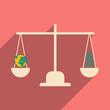 Flat design modern vector illustration icon Globe Scales money