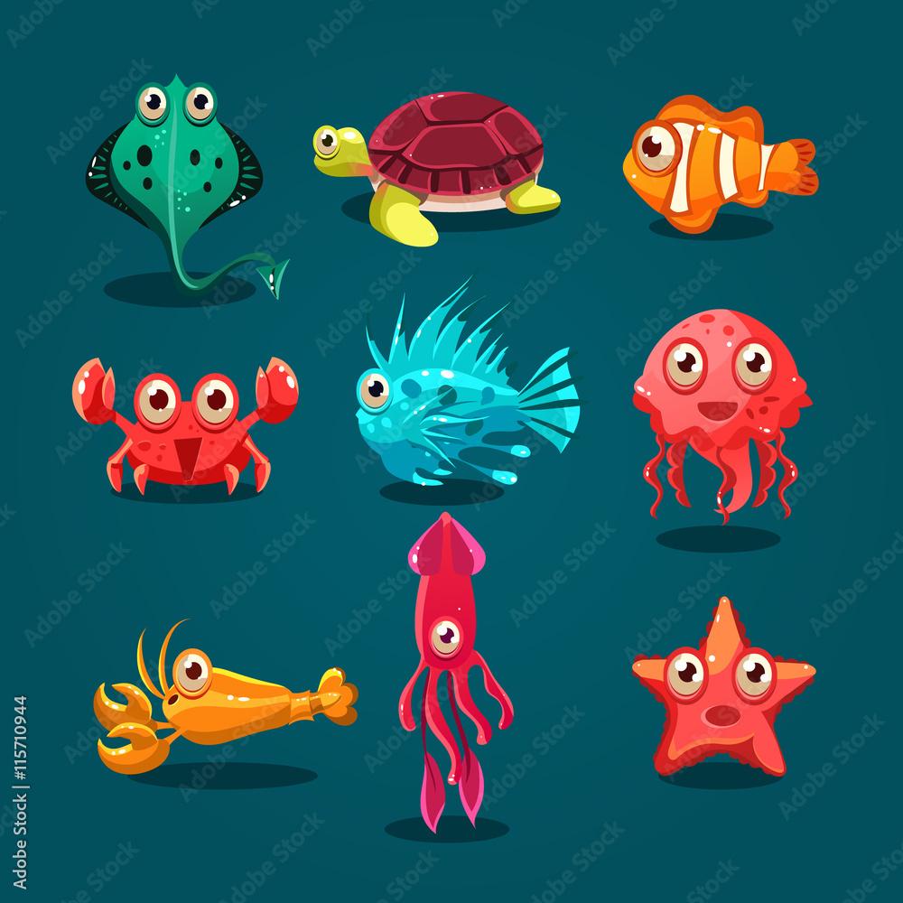 Fotografía Cute Sea Life Creatures Cartoon Animals Set   Europosters.es