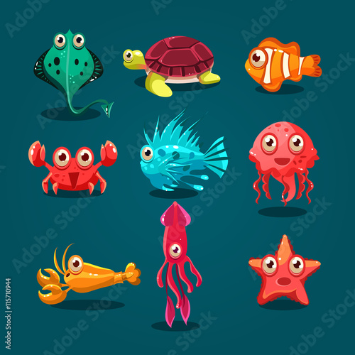 Cute Sea Life Creatures Cartoon Animals Set Poster