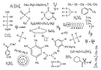 Fototapeta Do szkoły Hand drawn chemistry formulas Science knowledge education