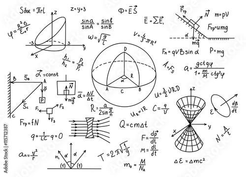 Fotografie, Obraz  Hand drawn physics formulas Science knowledge education.