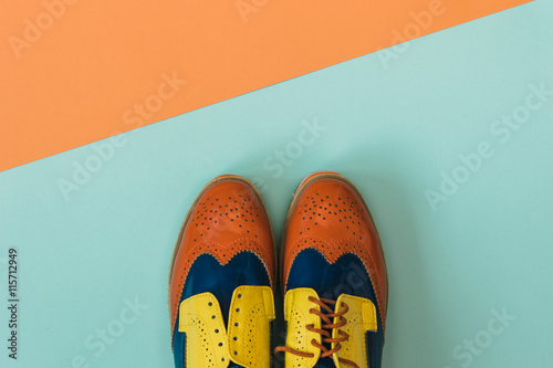 Fotografie, Obraz  Flat lay fashion set: colored vintage shoes on colored background