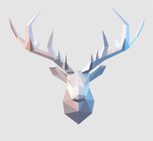 Polygonal Vector Low Poly Stag Illustration Design Element . 3d Paper Fold Design Effect.