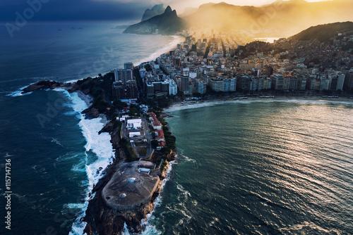 Canvastavla  Rio de Janeiro aerial view. Copacabana Fortalezza and Ipanema