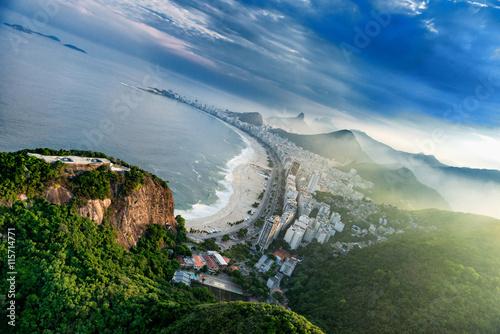 Fotografiet  Copacabana in Rio De Janeiro, aerial view