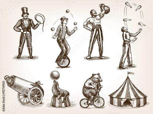 Fotografie, Obraz Retro circus performance set sketch vector