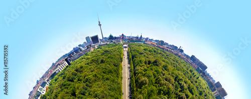 Staande foto Berlijn Panorama über Berlin von der Siegessäule aus als Little Planet