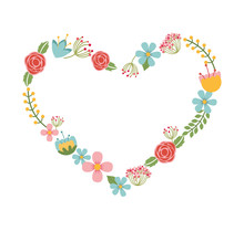 Floral Wreath Heart Isolated I...