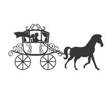 Wedding Carriage Isolated Icon...