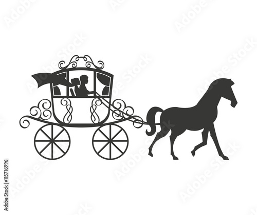 Leinwand Poster wedding carriage isolated icon design