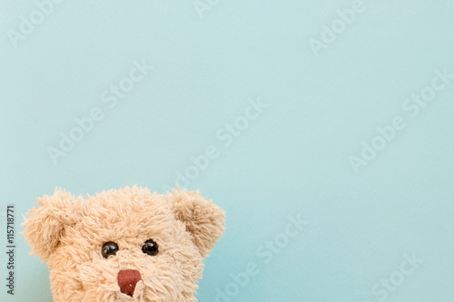 Fotografering Teddy bear on pastel background