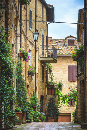 Spoed Foto op Canvas Mediterraans Europa Flowery streets on a rainy spring day in a small magical village