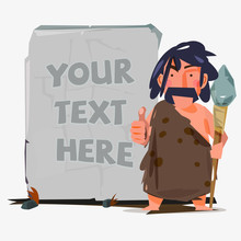 Caveman With Huge Stone To Replace Your Text. Stone Age Concept