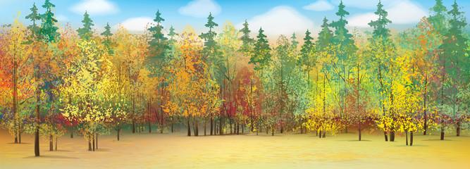 FototapetaVector autumn forest background.