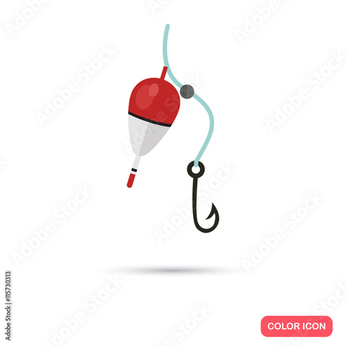Fotografie, Obraz Fishing bobber and hook color flat icon