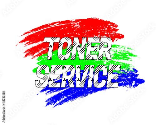 Photo Logo Toner Service on grunge brush strokes in RGB colors. Vector