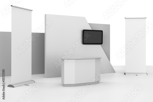 Fotografie, Obraz  stand design in exhibition with tv display. 3D rendering