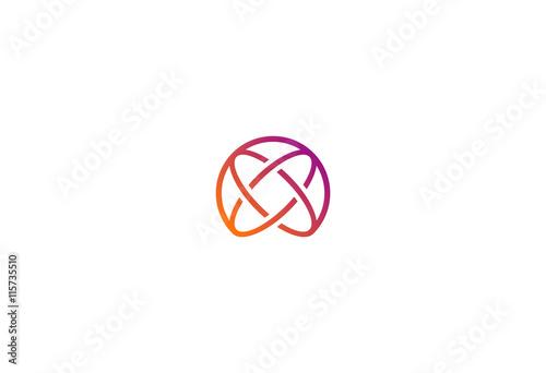 Obraz round orbit technology vector logo - fototapety do salonu