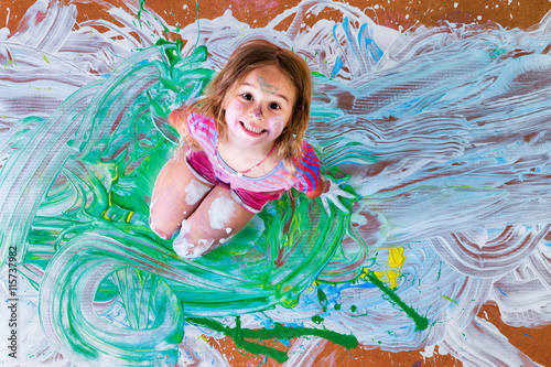 Fotografie, Obraz  Creative little girl having fun with paint