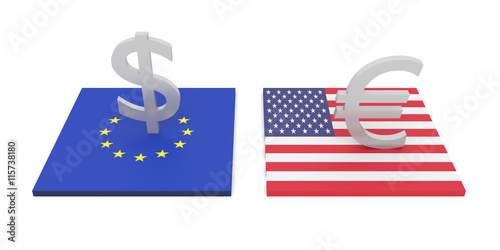 Fotografie, Obraz  transatlantic investment, EU and USA, 3d illustration