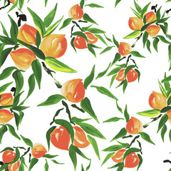 Panel Szklany peach seamless pattern