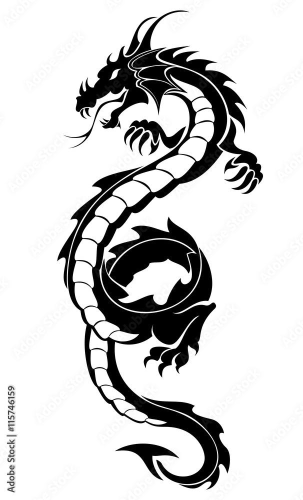 Fototapeta Black tribal dragon tattoo vector illustration