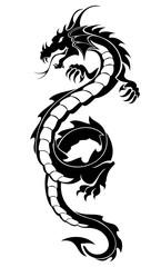 Black tribal dragon tattoo vector illustration