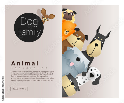 Cute animal family background with Dogs, vector , illustration Canvas Print