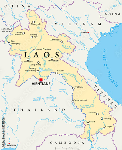 Laos political map with capital Vientiane, national borders ...