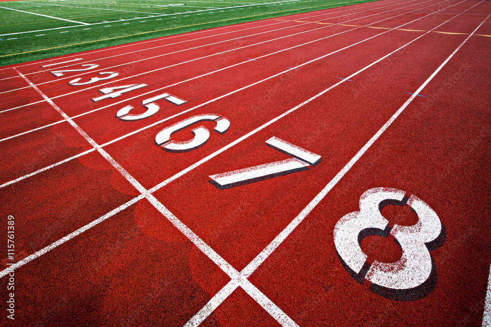 Photo Art Print Track And Field Starting Lane Numbers 1 8