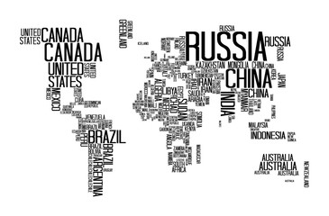 Fototapeta na wymiar World Map with Countries name text, World Map Letter, World Map Typography