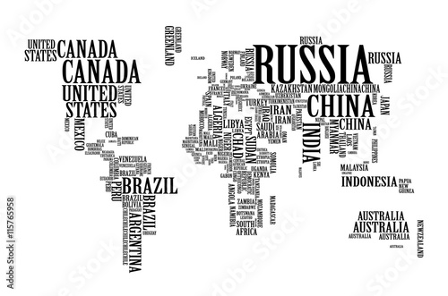 World Map with Countries name text, World Map Letter, World Map Typography