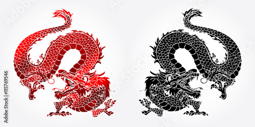 Fotografie, Tablou  Angry Asian dragon red and black