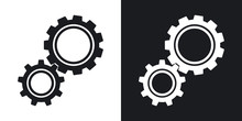 Vector Gears Icon. Two-tone Version On Black And White Background
