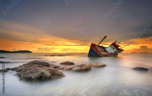Poster Foto van de dag ship wrecked at sunset in Chonburi ,Thailand